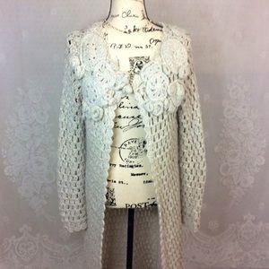 Anthro Beige Floral Appliqué Sweater Coat S/M